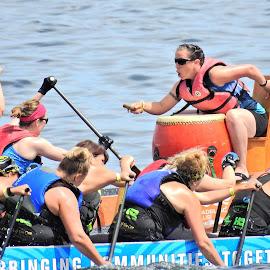 Dragon Boat race. by Carol Leynard - People Group/Corporate ( oars, race, rowing, canoe, dragon boat, drum, boats, water, women )