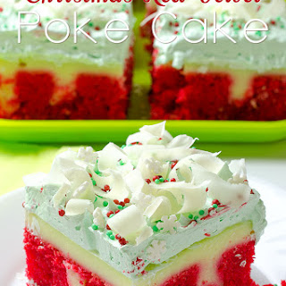 Christmas Red Velvet Poke Cake.