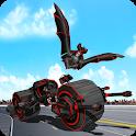 Flying Superhero Robot Transform Bike City Battle icon