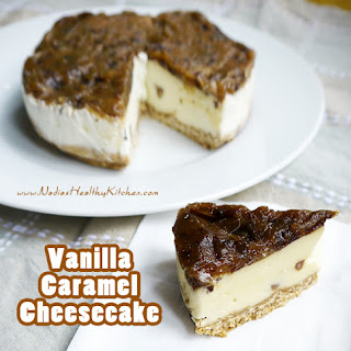 Clean Eating Vanilla Caramel Cheesecake