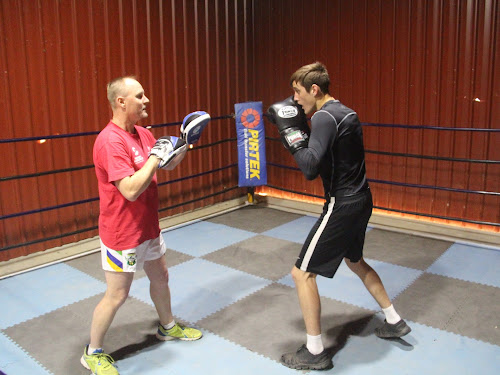 Narrabri boxer Shannan Davey, right, spars with North West Boxing head coach Tony O'Connor on Monday, just a day after Davey went up a division and defeated Sutherland PCYC boxer Jared El-Hassan at the K Ranch Arena in South Western Sydney.