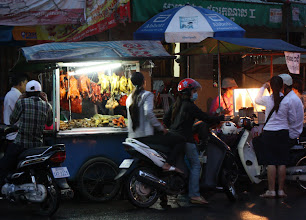 Photo: Year 2 Day 36 -  Cart Food Vendors in the Market in Phnom Penh