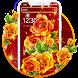 美しい赤黄色の花のテーマ