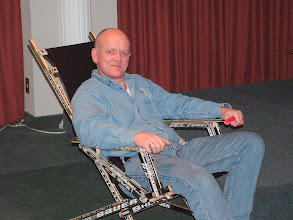 Photo: the offending Rod Potter in the offending chair made of hockey sticks