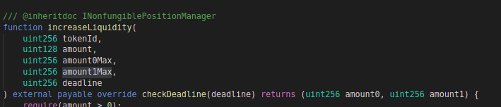 Code block for increaseLiquidity function