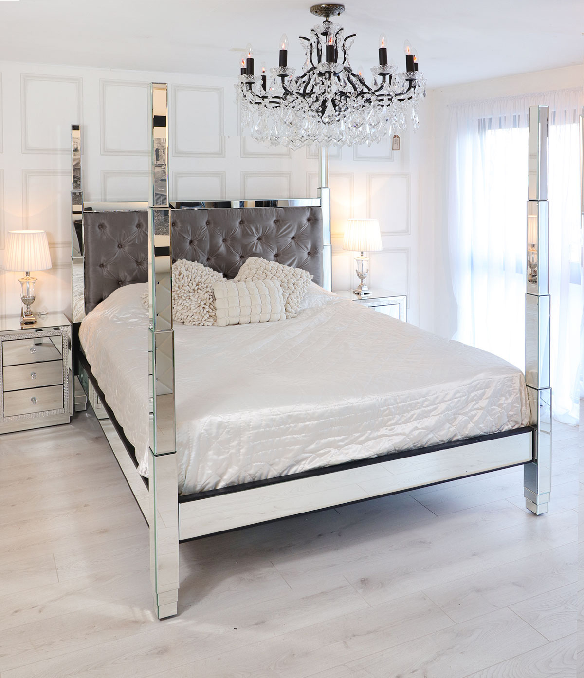 Modern Bedroom with Mirrored Bed Frame