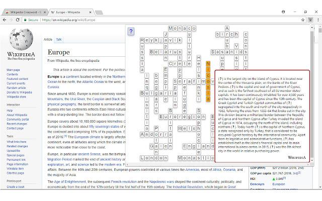 WikiCros | Wikipedia Crossword