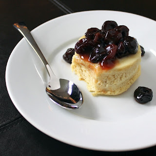 Baked Bourbon Pudding Cakes with Cherry Cardamom Sauce
