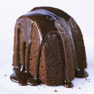 Dark Chocolate Bundt Cake With Glaze.