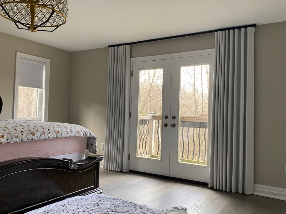Wave Fold covering double French doors