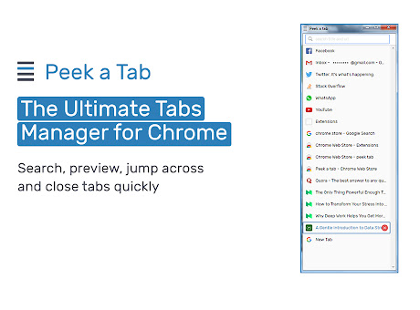 Peek-a-tab, Tabs Manager for Google Chrome™
