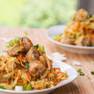Cabbage Hash with Chicken Sausage and Carrots {Gluten-Free, Dairy-Free}.