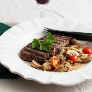Black Angus Steaks with Mushrooms.