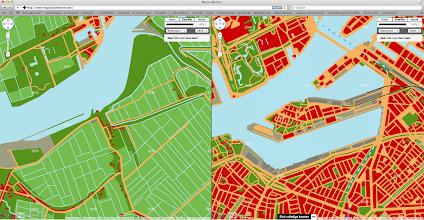 Photo: [2011 ©-project Mapping History van Museum Rotterdam en Maps+Motion] - http://www.museumrotterdam.nl en http://www.mapsplusmotion.com - click op laatstgenoemde site op 'Toon de kaarten' en stel de stad en de jaartallen in - op voorliggende foto staat de vergelijking tussen het Katendrecht van 1850 (met nog een aantal woningen c.a. die vanwege het graven van de Maashaven zullen moeten verdwijnen) en 2000 - de bedoeling van Stichting Historisch Katendrecht is dat ook de andere voor Katendrecht belangrijke perioden zullen worden toegevoegd en zo mogelijk ook dat op perceelniveau informatie opgevraagd kan worden.