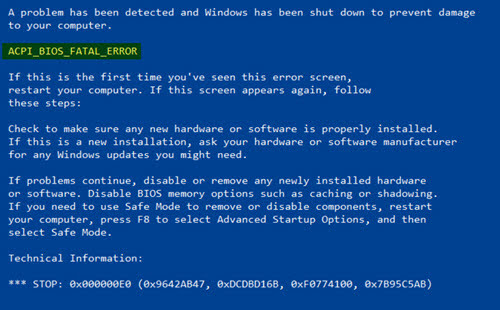 Fix Resolved BSOD ACPI_BIOS_ERROR