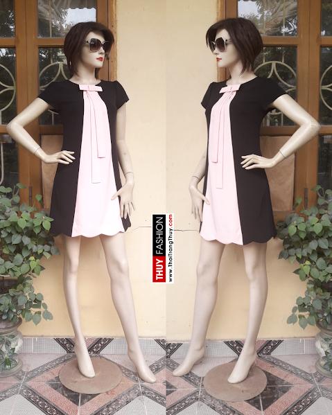Váy suông chữ A cổ nơ phối màu hồng đen V309 thời trang thuỷ