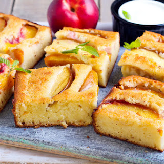 Corn Bread Cake with Fresh Nectarines