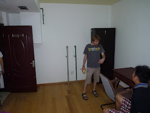Photo: Beijing - very good 1st impression of nice luxurious green living quarter, little bit humid and cooler basement big room for 1400Y (1350Y after bargaining + 135Y for electricity/AC/water) with double bed, table with chair and cabinet, after few minutes of thinking I paid deposit so we could handle some pre-agreement already