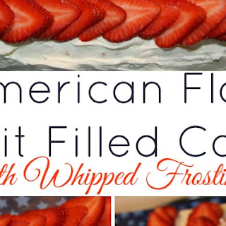 Deployment Homecoming and American Flag Fruit Filled Cake with Whipped Frosting.