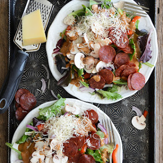 Pizza Salad with Pepperoni Chips and Creamy Roasted Tomato-Garlic Dressing