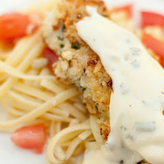 Parmesan Crusted Chicken Tenders Over Pasta with Warm Tomatoes
