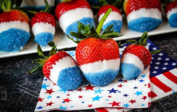 Platter Of 4th Of July Strawberries.