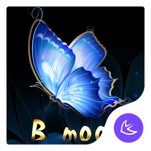 Blue Flower Butterfly  - APUS Launcher Free Theme file APK for Gaming PC/PS3/PS4 Smart TV