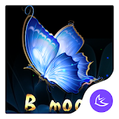 Blue Flower Butterfly  - APUS Launcher Free Theme
