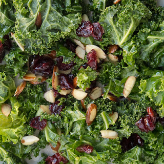 Kale Salad with Cranberries and Almonds.
