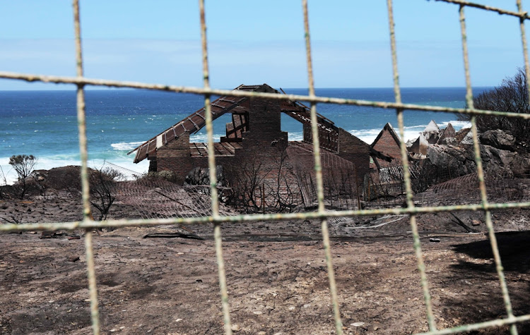 One of 31 properties in Betty's Bay destroyed by a fire that swept through the coastal village on Friday January 11 2019.