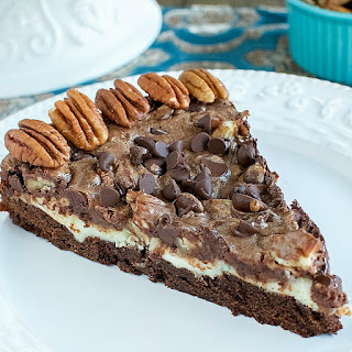 Chocolate Pecan Pie Brownie Cheesecake.