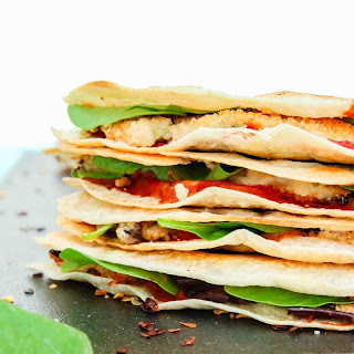Grilled Crispy Eggplant & Spinach Vegan Quesadillas.
