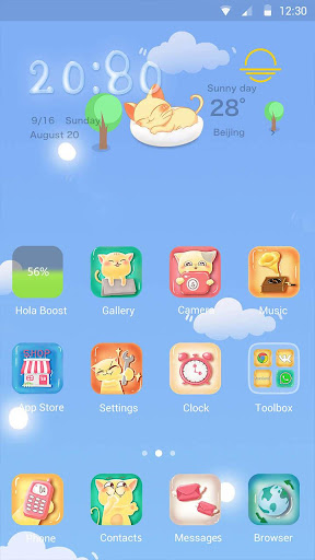Kitty Blue Hola Launcher テーマ