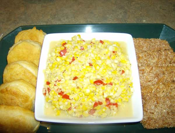 Mama's Fried Corn With Sweet Red Bell Peppers Added