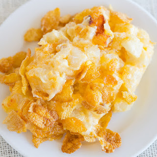 Cheesy Potato Casserole with Corn Flake Topping