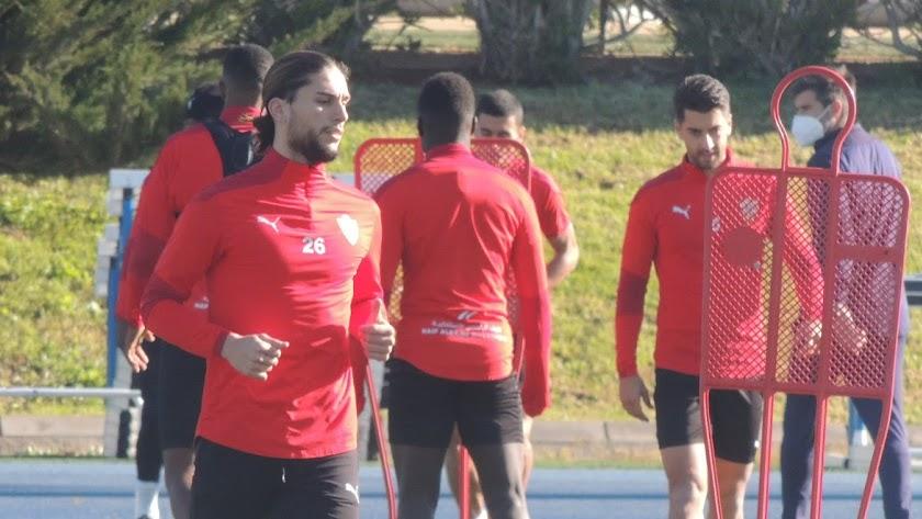 Pedro Mendes en el entrenamiento de este miércoles.