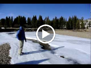 Video: Vince thinks he can make it across the thin ice over the river!