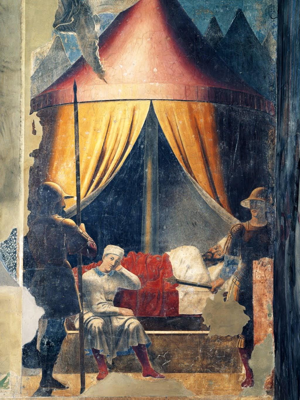 Piero della Francesca, Sogno di Costantino (De droom van Constantijn), le Storie della Vera Croce, Basilica di San Francesco, Arezzo