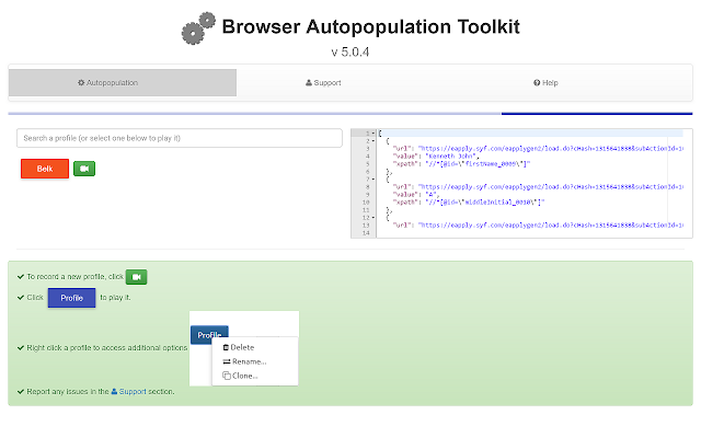 Browser Autopopulation Toolkit