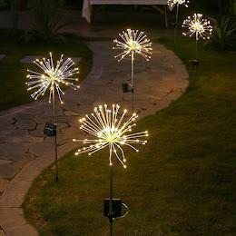Lampa solara artificii cu suport metalic, 100 LED, lumina calda