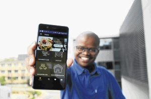 Katleho Nyawuza is the founder of business app ExploreIkasi, which helps clients get in touch with township businesses. There are over 60 businesses currently registered on his app. /Mduduzi Ndzingi