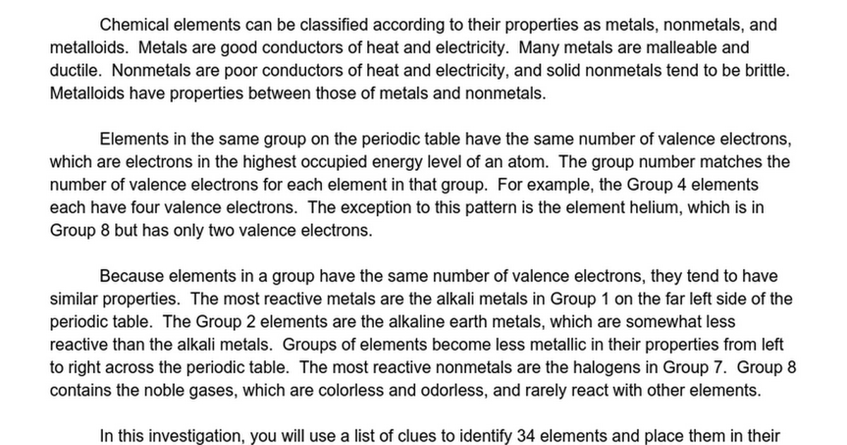 Chapter 5 The Periodic Table Using Clues To Identify Elements Answer