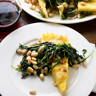 Baked Polenta with White Beans + Spicy Greens