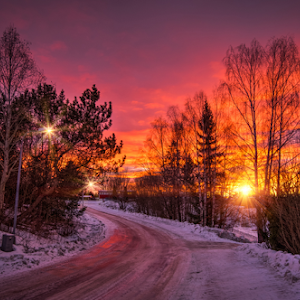 Askim, Norge 181 - Moon and Sunset over the Street at Winter.jpg