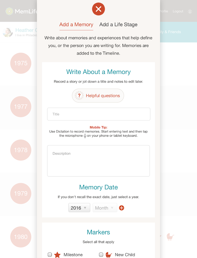 MemLife Journal, Diary, Memoir- screenshot