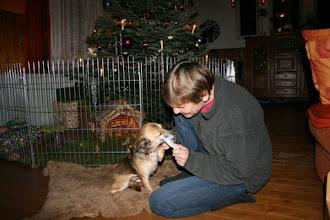 Photo: Weihnachtsbescherung am Bahnhof: PS Hund Peanuts