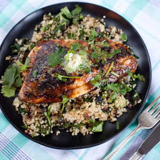 Chili-Rubbed Porgy with Lime Butter & Vegetable Quinoa.