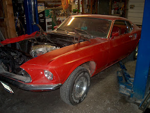 Photo: 69 mach born with 390 and blue paint, most likely Acupoco blue then painted red in the 80s
