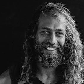 Cast Away by Matthew Miller - People Portraits of Men ( potrait, blackandwhite, beard, man, smile )
