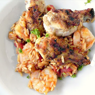 Jambalaya with Shrimp and Crispy Chicken Wings